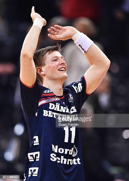 Lasse Svan of Flensburg celebrates during the DKB handball Bundeliga match between SG Flensburg Handewitt and TuS NLuebbecke at FlensArena on April...