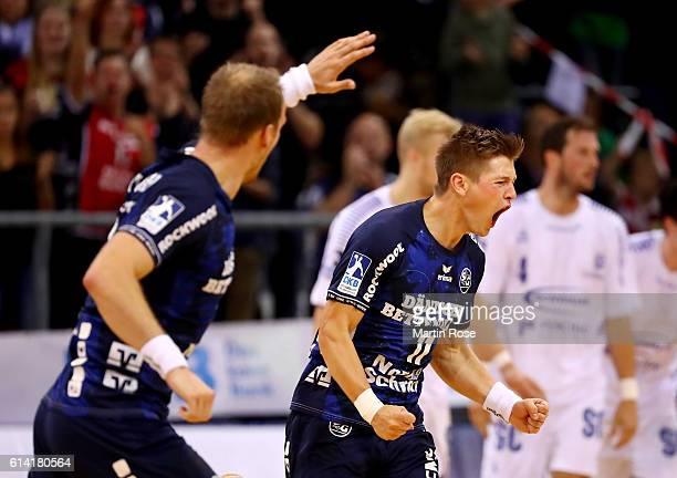 Lasse Svan of Flensburg celebrates during the DKB HBL Bundesliga match between SG FlensburgHandewitt and VfL Gummersbach at FlensArena on October 12...