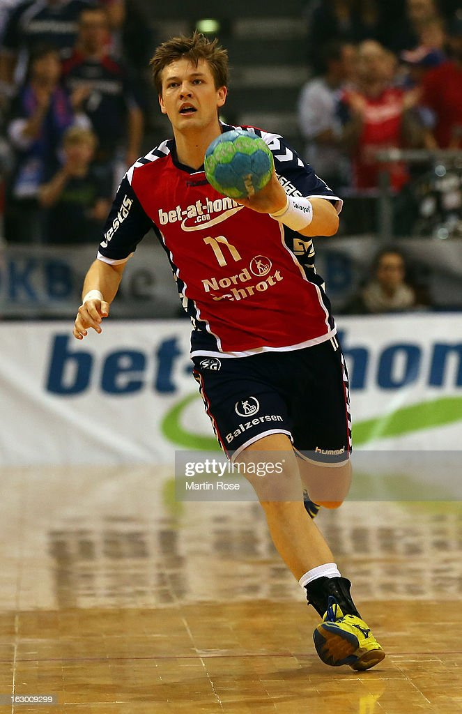 Lasse Svan of Flensburg in action during the DKB Handball Bundesliga match between SG Flensburg-Handewitt and TV Grosswallstadt at Flens Arena on March 3, 2013 in Flensburg, Germany.