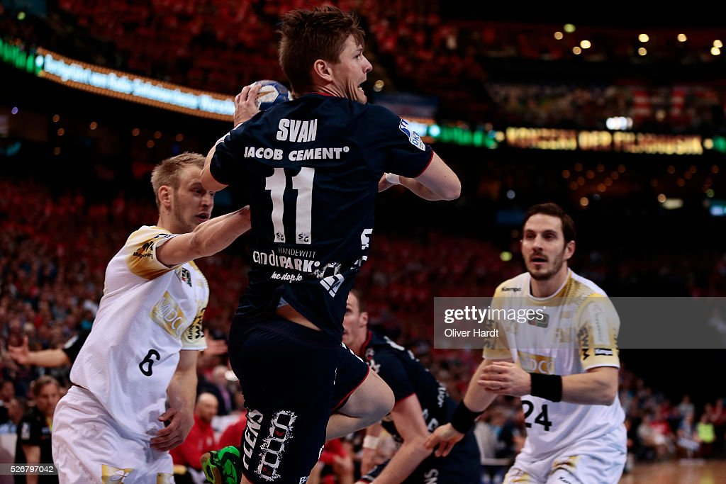 Lasse Svan of Flensburg in action during the DKB REWE Final Four Finale 2016 between SG Flensburg Handewitt and SC Magdeburg at Barclaycard Arena on May 1, 2016 in Hamburg, Germany.