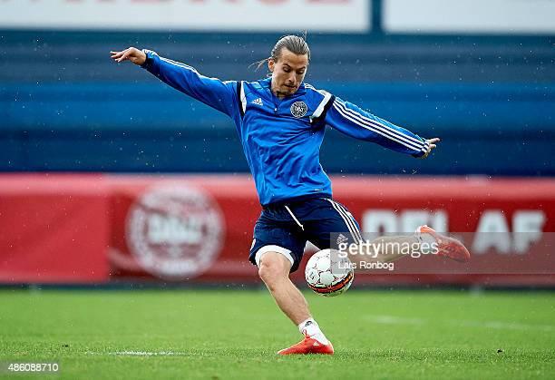 Lasse Vibe in action during the Denmark training session at Helsingor Stadion on August 31 2015 in Helsingor Denmark