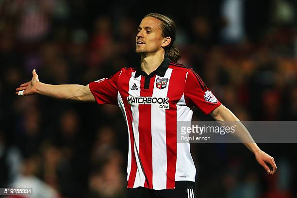 Lasse Vibe of Brentford celebrates after scoring during the Sky Bet Championship match between Brentford and Bolton Wanderers at Griffin Park on...