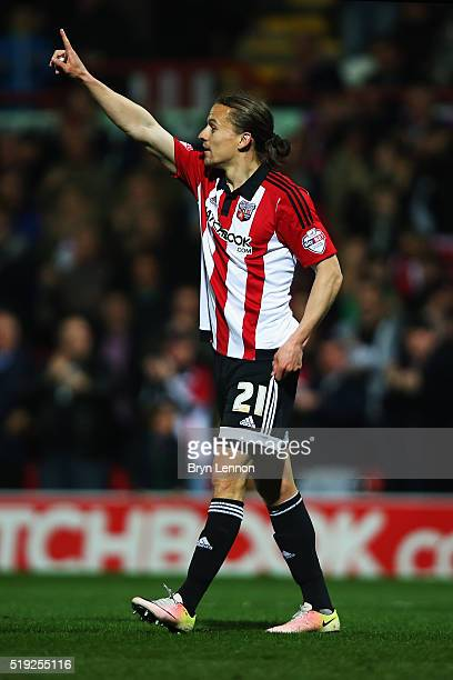 Lasse Vibe of Brentford celebrates scoring during the Sky Bet Championship match between Brentford and Bolton Wanderers at Griffin Park on April 5...