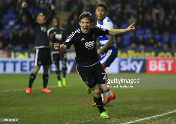 Lasse Vibe of Brentford celebrates scoring their second goal during the Sky Bet Championship match between Reading and Brentford at Madejski Stadium...