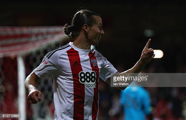 Lasse Vibe of Brentford celebrates scroing a goal during the Sky Bet Championship match between Brentford and Reading at Griffin Park on September 27...