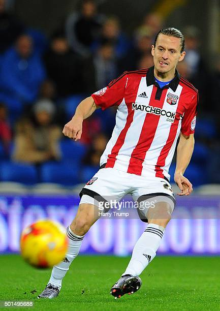 Lasse Vibe of Brentford during the Sky Bet Championship match between Cardiff City and Brentford at the Cardiff City Stadium on December 15 2015 in...