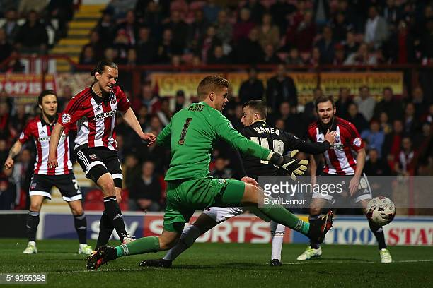 Lasse Vibe of Brentford scores during the Sky Bet Championship match between Brentford and Bolton Wanderers at Griffin Park on April 5 2016 in...