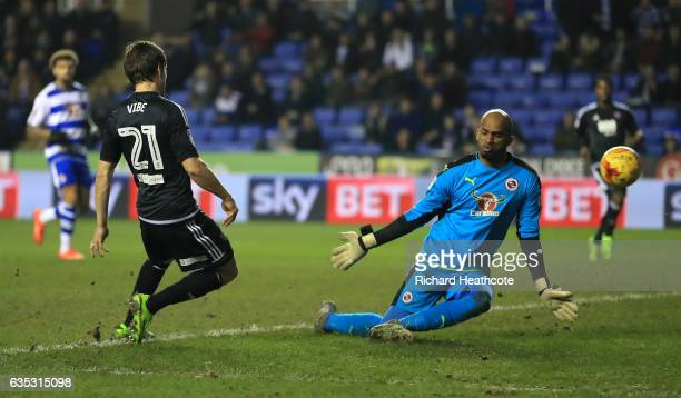 Lasse Vibe of Brentford scores their second goal during the Sky Bet Championship match between Reading and Brentford at Madejski Stadium on February...