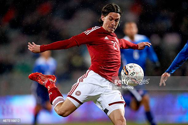 Lasse Vibe of Denmark controls the ball during the International Friendly match between Denmark and Unites States at NRGi Park on March 25 2015 in...