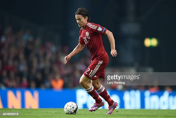 Lasse Vibe of Denmark controls the ball during the UEFA 2016 Group I Qualifier between Denmark and Armenia at Parken Stadium on September 7 2014 in...