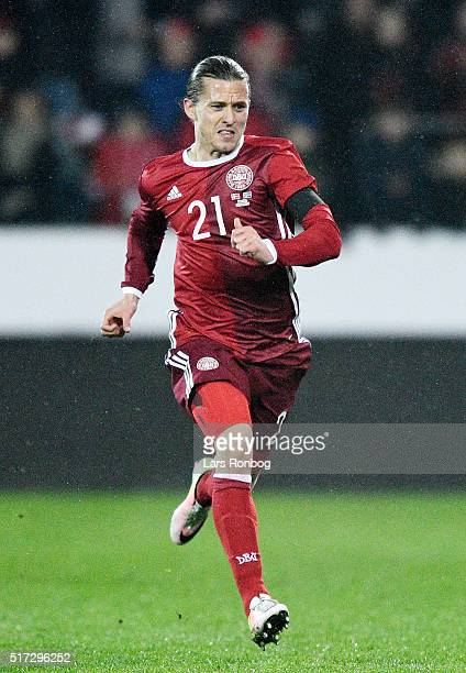Lasse Vibe of Denmark in action during the international friendly match between Denmark and Iceland at MCH Arena on March 24 2016 in Herning Denmark