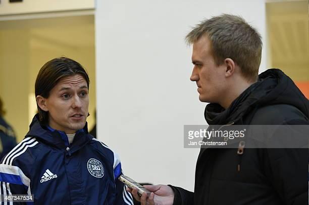 Lasse Vibe of Denmark speaks to the media prior to the Denmark training session at NRGi Park on March 23 2015 in Aarhus Denmark