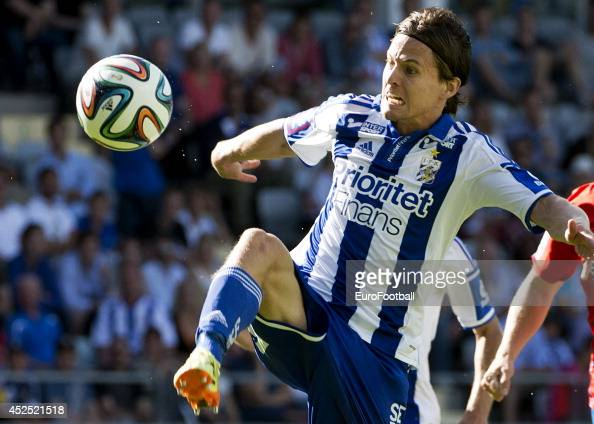 Lasse Vibe of IFK Goteborg in action during the Swedish Allsvenskan League match between IFK Goteborg and Helsingborg at the Gamla Ullevi Stadium on...