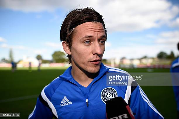 Lasse Vibe speaks to the media prior to the Denmark training session ahead of the International friendly match between Denmark and Turkey at Elsinore...