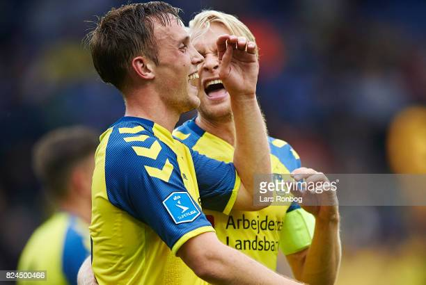 Lasse Vigen Christensen and Johan Larsson of Brondby IF celebrate after scoring their fifth goal during the Danish Alka Superliga match between...