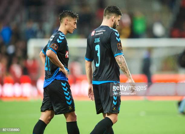 Lasse Vigen Christensen of Brondby IF and Anthony Jung of Brondby IF looks dejected after the Danish Alka Superliga match between FC Nordsjalland and...