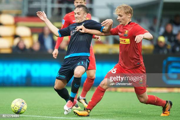 Lasse Vigen Christensen of Brondby IF and Victor Nelsson of FC Nordsjalland compete for the ball during the Danish Alka Superliga match between FC...