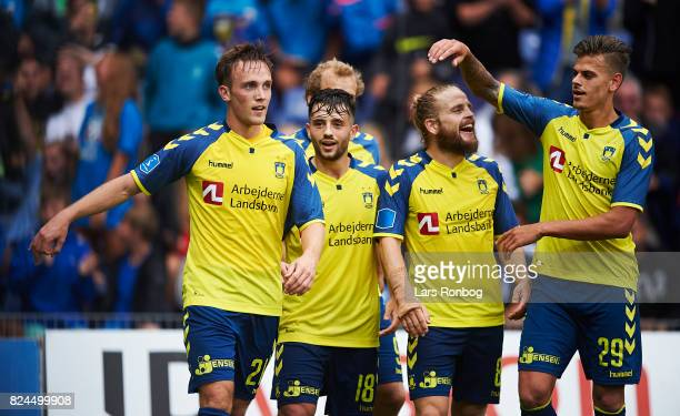 Lasse Vigen Christensen of Brondby IF celebrates after scoring their fifth goal during the Danish Alka Superliga match between Brondby IF and Lyngby...