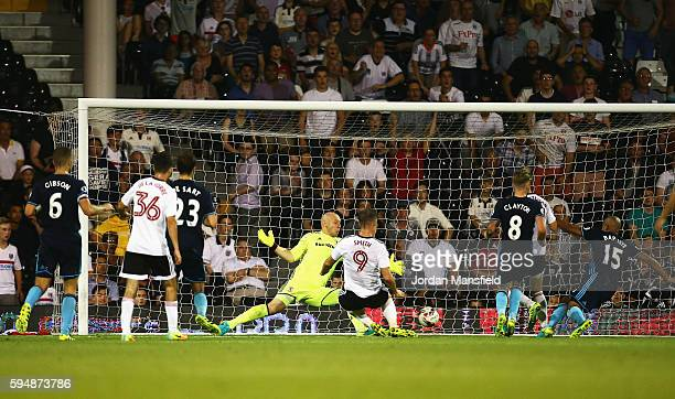 Lasse Vigen Christensen of Fulham scores his team's second goal during the EFL Cup second round match between Fulham and Middlesbrough at Craven...