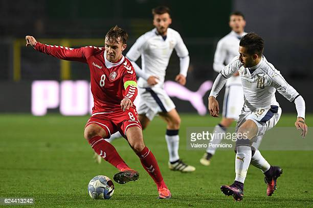 Lasse Vigen of Denmark in action against Vittorio Parigini of Italy during the International Friendly match between Italy U21 and Denmark U21 at...