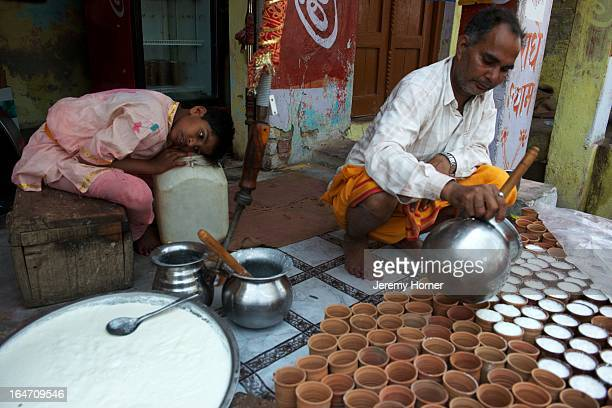 Lassi drinks are prepared for devotees arriving at the Shriji Temple at Barsana during Lathmar Holi It is held during a full moon and the town...
