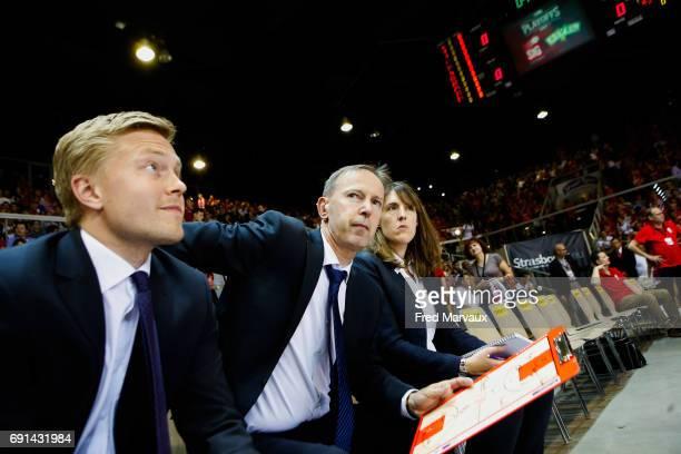 Lassi Tuovi coach assistant of Strasbourg and Vincent Collet coach of Strasbourg and Lauriane Dolt second assistant coach of Strasbourg during the...