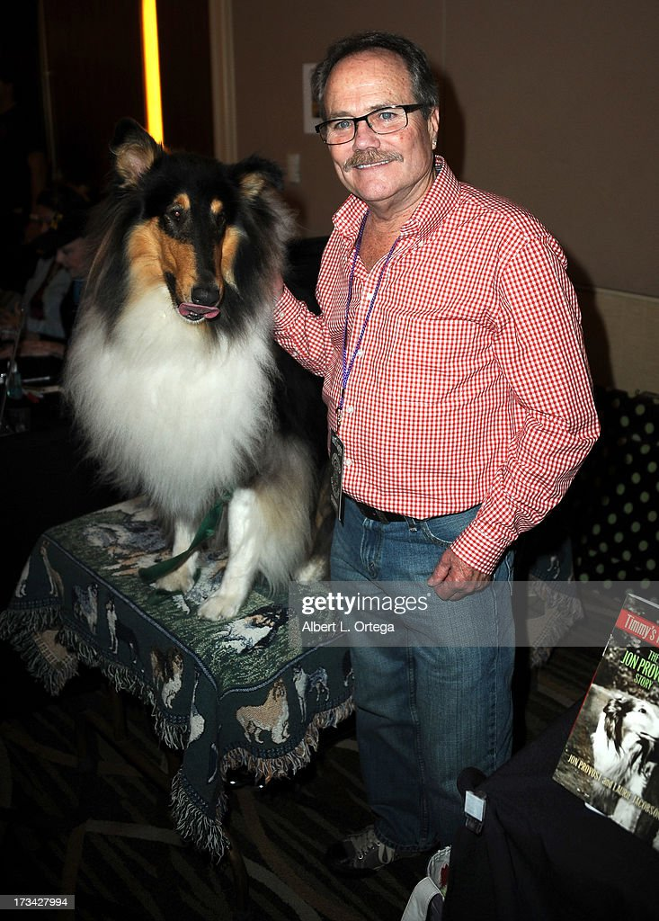 Lassie and actor Jon Provost participate in The Hollywood Show held at Westin LAX Hotel on July 13, 2013 in Los Angeles, California.