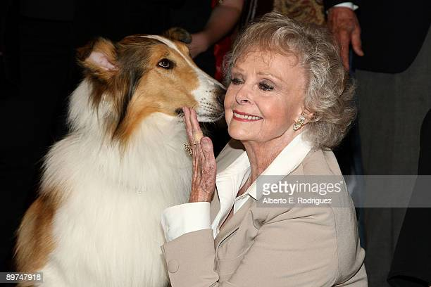 Lassie and actress June Lockhart attend the Early TV Memories FirstClass stamp dedication ceremony held at the Academy of Television Arts and...