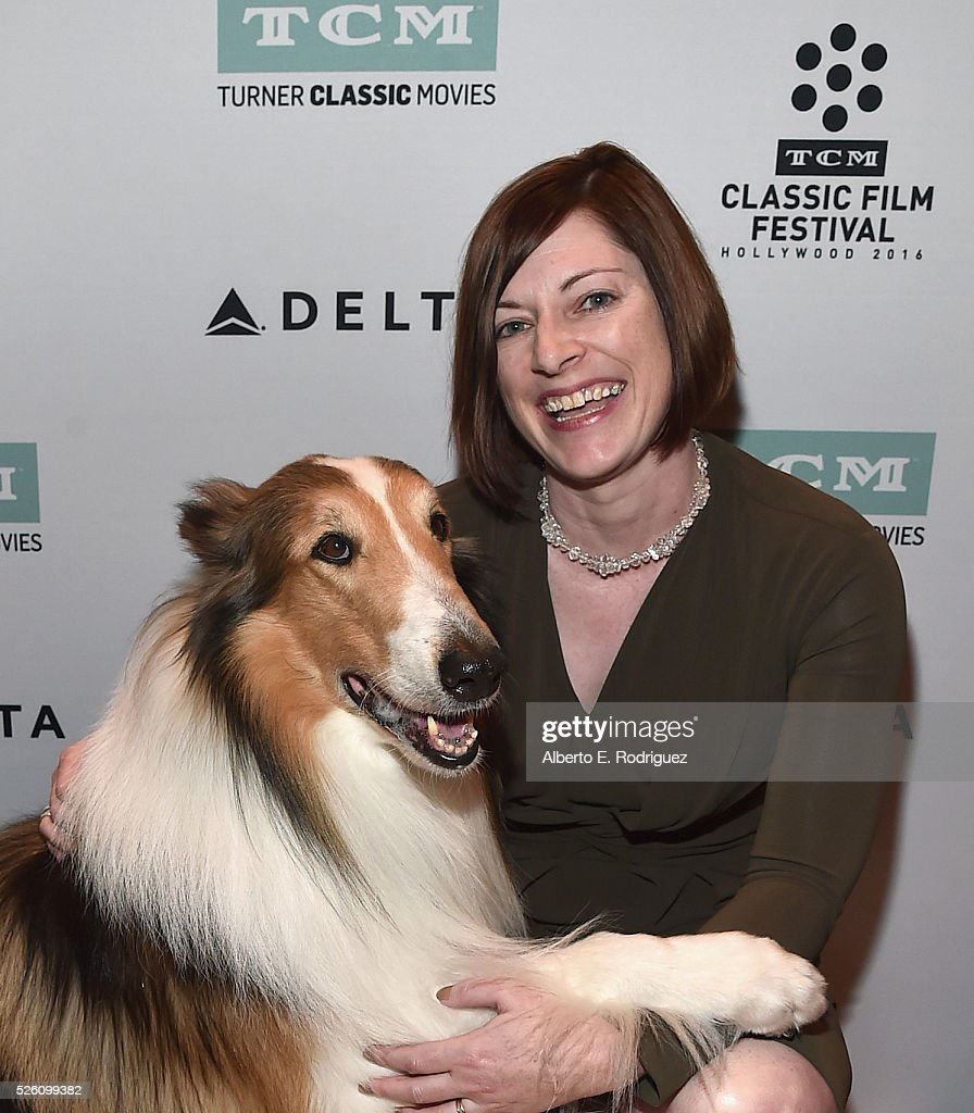Lassie (L) and Managing Director of TCM Classic Film Festival Genevieve McGillicuddy attend 'Lassie Come Home' during day 2 of the TCM Classic Film Festival 2016 on April 29, 2016 in Los Angeles, California. 25826_006