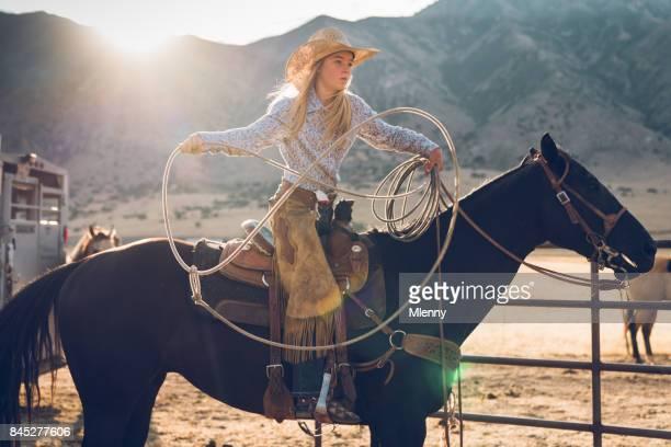 Lassoing Training Teenage Cowgirl