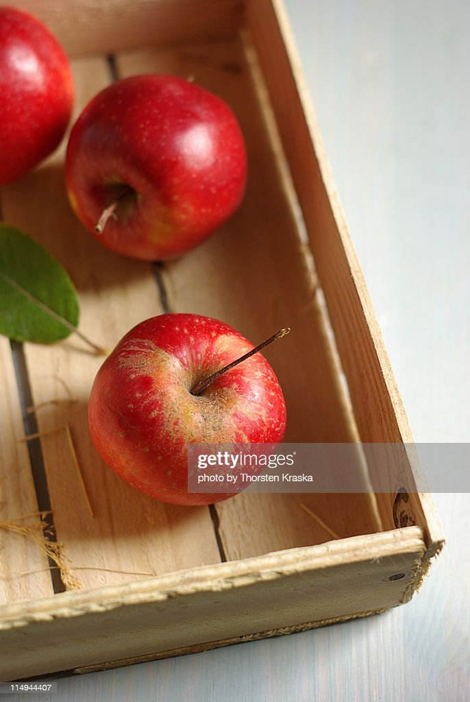 Last apples from   box : Stock Photo