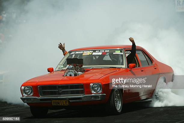 Last day of the 18th summernats to which the final of the burnout comp attracted many punters Image shows Rodney Waters from Kurrajong driving...