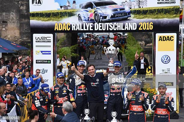 Last event for Mr Jost Capito Volkswagen Motorsport Director here is in the podium cerimonial during Day Three of the WRC Germany on August 21 2016...