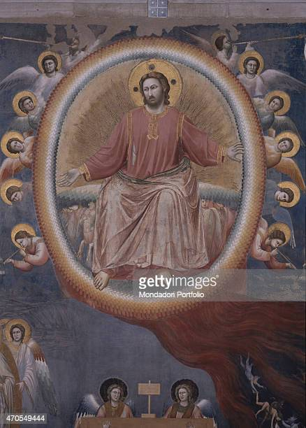 'Last Judgement by Giotto 13031305 14th Century fresco Italy Veneto Padua Scrovegni Chapel After restoration picture Detail Jesus Christ appears as a...