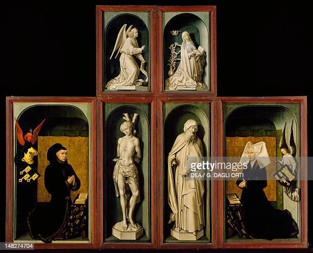 Last Judgment polyptych also known as the Beaune altarpiece by Rogier van der Weyden with doors closed Beaune Musée De L'HôtelDieu