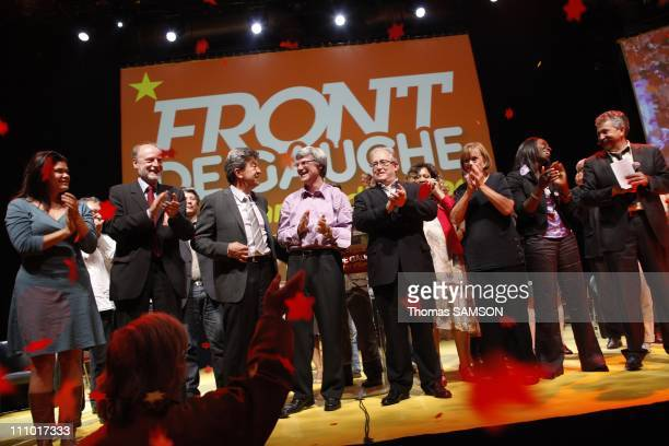 Last meeting of the Left Front before the European elections in Paris France on June 04th 2009 Raquel Garrido Patrick Le Hyaric JeanLuc Melenchon...
