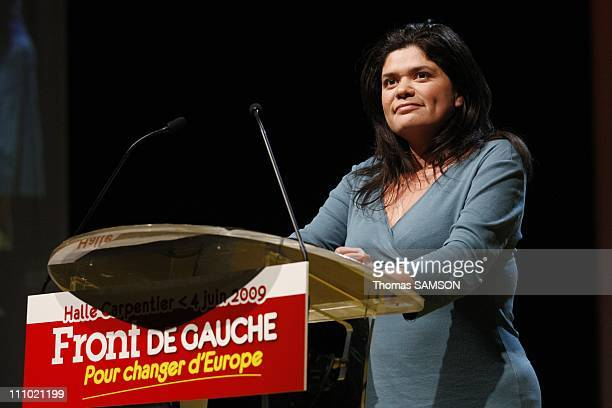 Last meeting of the Left Front before the European elections in Paris France on June 04th 2009 Raquel Garrido