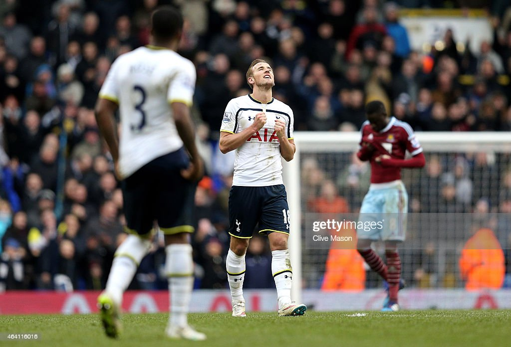 Last minute goalscorer Harry Kane of Spurs celebrates following is team's 2-2 draw during the Barclays Premier League match between Tottenham Hotspur and West Ham United at White Hart Lane on February 22, 2015 in London, England.