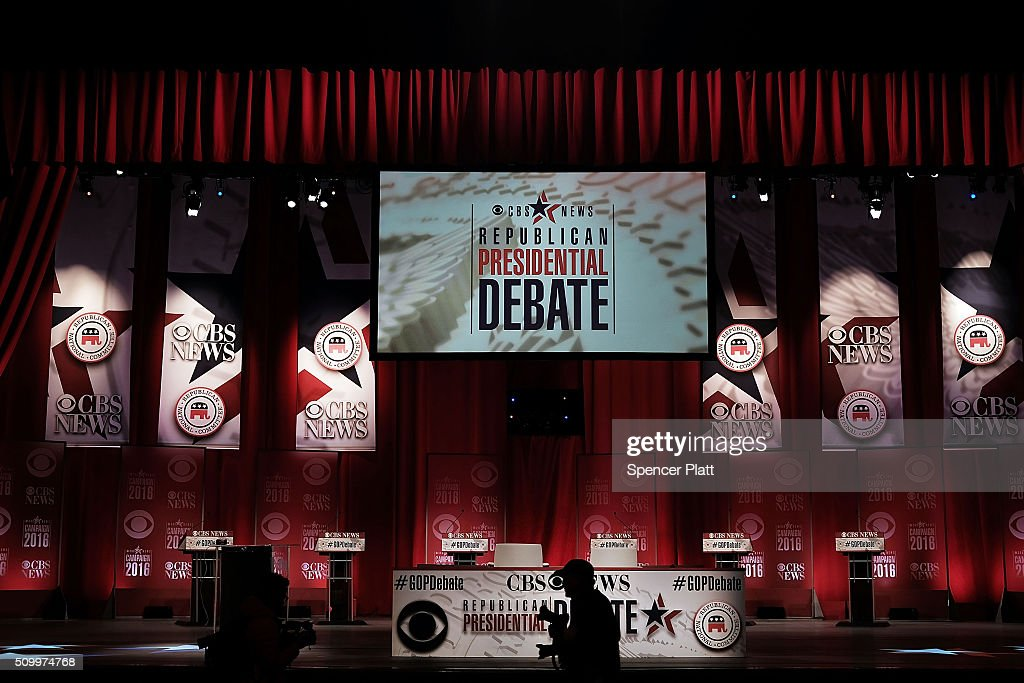 Last minute preparations are made on the stage for the Republican Presidential debate on February 13, 2016 in Greenville, South Carolina. This evenings debate will see the six remaining candidates go at each other in a state known to reward more conservative candidates.