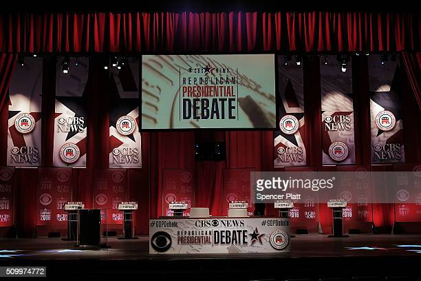 Last minute preparations are made on the stage for the Republican Presidential debate on February 13 2016 in Greenville South Carolina This evenings...