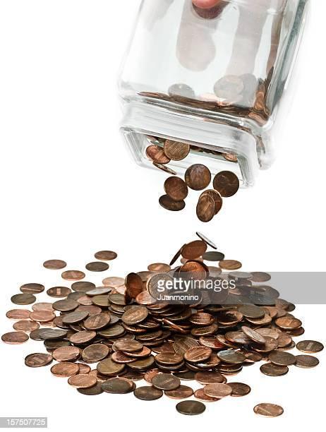 Last of months wages shaken from savings jar.