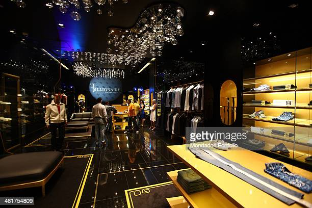 Last preparations for the opening evening of the Billionaire Italian Couture the first single brand store at the Dubai Mall Dubai United Arab...