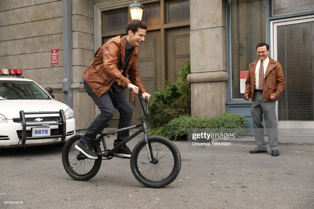NINE -- 'Last Ride' Episode 415 -- Pictured: (l-r) Andy Samberg as Jake Peralta and Joe Lo Truglio as Charles Boyle --
