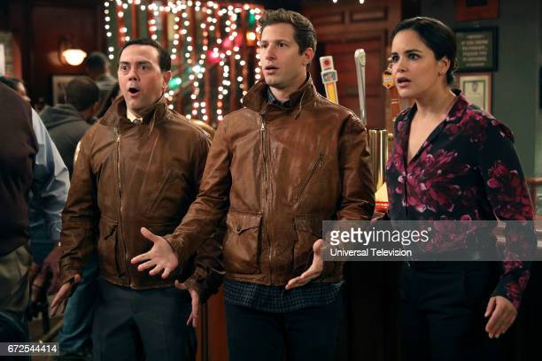 NINE 'Last Ride' Episode 415 Pictured Joe Lo Truglio as Charles Boyle Andy Samberg as Jake Peralta Melissa Fumero as Amy Santiago