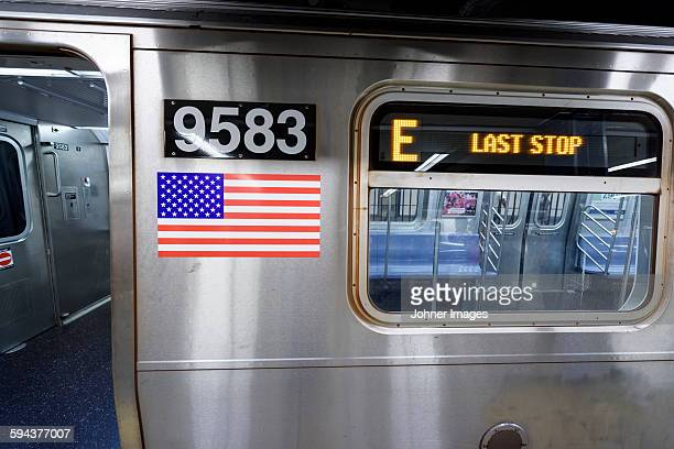 Last stop sign on subway train carriage