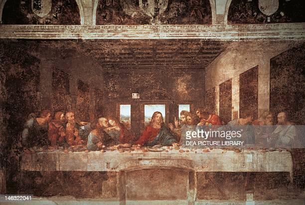 Last Supper 14941498 by Leonardo da Vinci tempera on plaster 460x880 cm Santa Maria delle Grazie refectory Milan