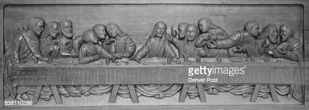 Last Supper Carved In Teak Adorns Hospital Chapel The plaque which is 53 inches long was given for meditation chapel at Lutheran Hospital 8300 W 38th...