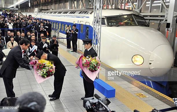 Last train of the first generation shinkansen bullet train arrives at the Hakata station in Fukuoka city Japan's southern island of Kyushu on...