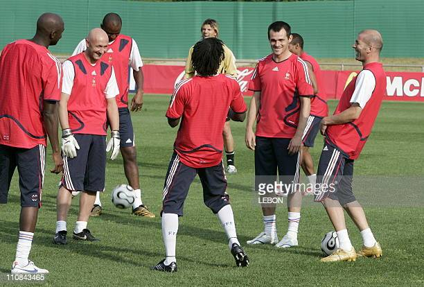 Last Training For French Team Before 2006 Fifa World Cup Final In Berlin Germany On July 082006 Alou Diarra Fabien Barthez Pascal Chibomda Willy...