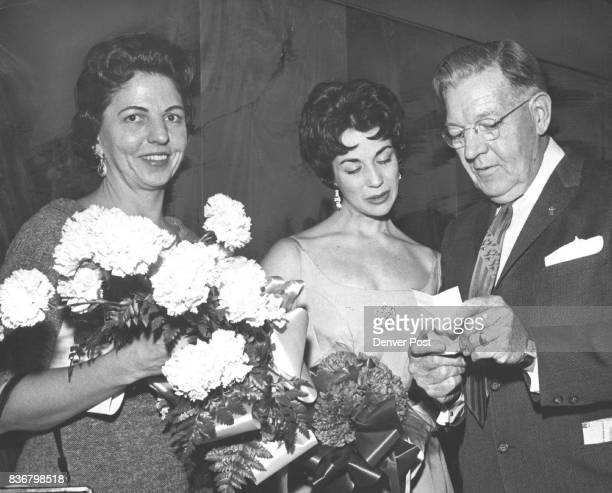 Last Years Miss Wool and Friends at the Stockmen's Ball Miss Jo Ann Hayes left holds a bouquet of Colorado carnations for judith Knott Miss Wool of...